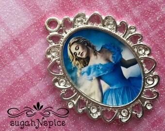 Cinderella pendant h- Cinderella new movie - Cinderella Glass Pendant - Cinderella Glass Cameo - Cinderella New Movie Necklace -