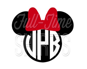 Personalized Monogram Initials Circle Minnie Mouse with Bow Disney Iron On Decal Vinyl for Shirt