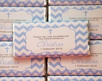 Chevron personalised chocolate bar 40g bomboniere Christening, baptism party favour *** Minimum order of 20***