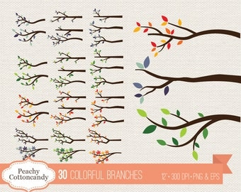 BUY 2 GET 1 FREE 30 Colorful branches clipart - digital branch clip art - Commercial Use Ok