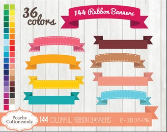 BUY 2 GET 1 FREE 144 Colorful Digital Ribbon Banners Clipart - ribbon banner clip art - cute stitched ribbons clipart - Commercial Use Ok