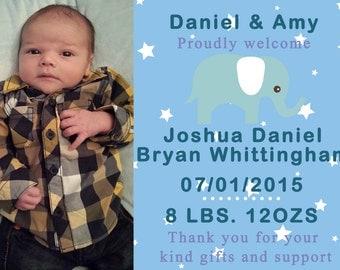 Boy BIRTH ANNOUNCEMENT, Printable Thank you Card, Baby Thank you card, Elephant, Boy Baby Birth Announcement
