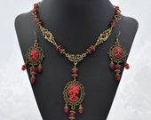 Lady Death - Bronze Black and Red victorian Necklace or Necklace and Earring Set - Gothic skull bronze necklace - Free US Shipping