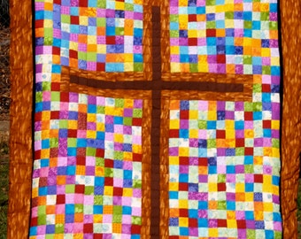 Cross On Stained Glass Quilt