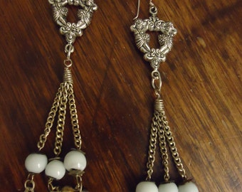 "Vintage earrings, victorian, cherubs, approx. 4 1/2 "" drop, silver, white beads, mini silver bells, pierced ears,statement piece"
