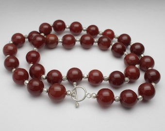 Red Agate 12 mm Bead Necklace with Faceted Sterling Silver Bead  - NC04L