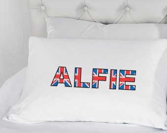 Personalised Union Jack Pillow Case Printed Boys Girls Bedding