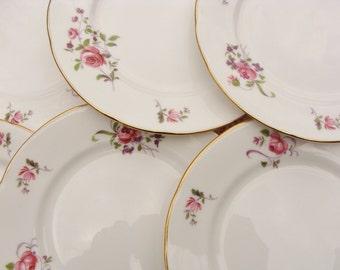 Six Pretty Royal Kent China Pink Roses Side Plates