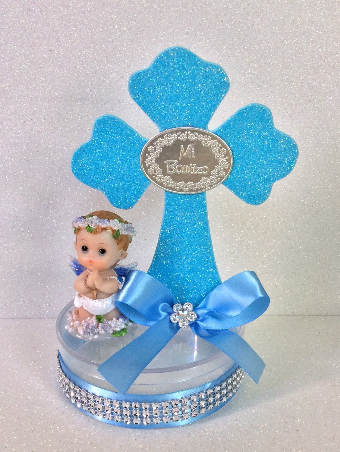 4 boy baptism centerpieces boy baptism by nandospartysupply - Decorations for a baptism ...