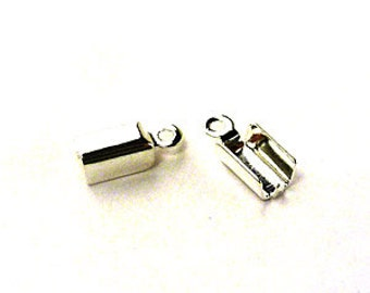 Leather Ends 7mm - Nickle / Gold - Pack 20