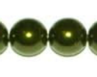 Glass Pearls - 6mm - Dark Olive - Pack 75