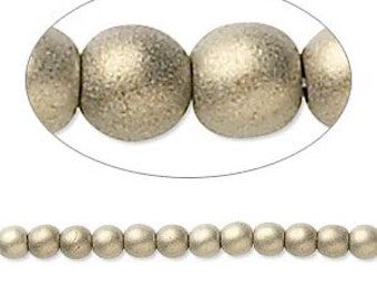 Czech Glass Pearl - 8mm - Gold Satin - Pack 20