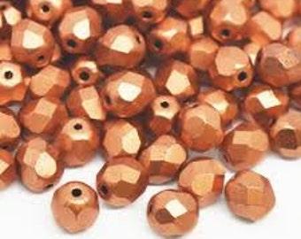 Czech Glass 8mm Facet Round - Matte Copper - Pack 20