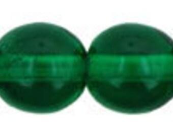 Czech Glass Druk 6mm - Pack 35 Beads - Green Emerald