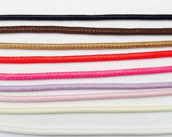 Polished Waxed Cotton Cloth Cord Choker / Necklace (in 9 colors - Black,Brown,Tan,Red,Pink,Purple,Ivy, Beige white) R210
