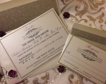 SET OF 100 Elegant Champagne and Gold Wedding Invitation with Gold Glitter Lined Envelopes