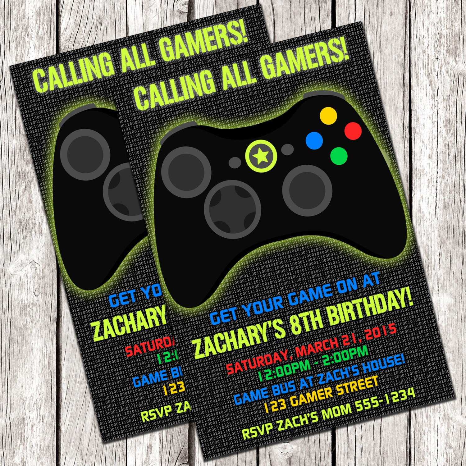 Gamer Invitation Video Game Birthday Party DIY Printable