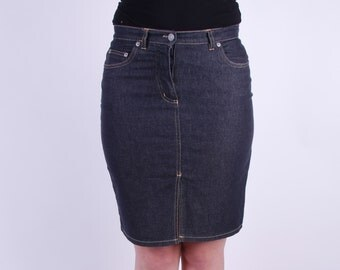 Navy Blue Denim Skirt Dark Blue Pencil Skirt Low Waist