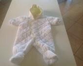 White Vintage Baby Snowsuit, St Michaels, Age 3 Months