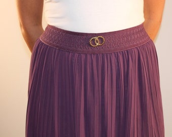 Vintage high waist skirt sheer pleated purple circle skirt purple skirt 1980s 80s small medium summer skirt