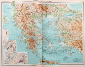 Huge 1922 Antique Map, Greece, Turkey, The Balkans, Aegean