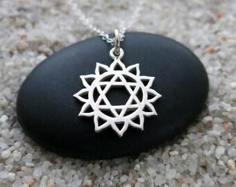 Heart Chakra Necklace, Sterling Silver Heart Chakra Charm, Chakra Jewelry