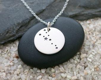Taurus Constellation Necklace, Sterling Silver Taurus Constellation Charm, Zodiac Jewelry