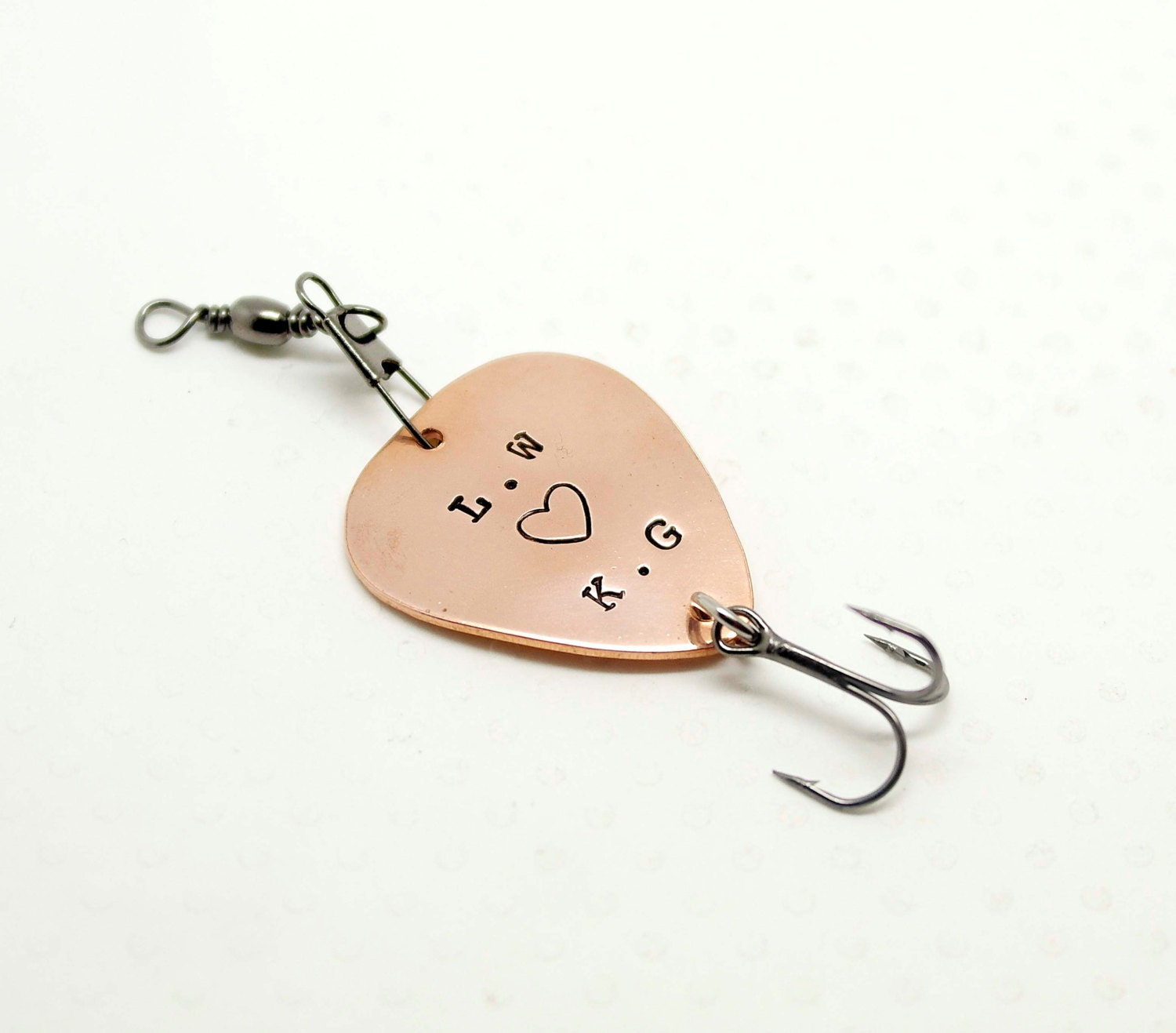 Hand stamped personalized fishing lure fish lover for Gifts for fishing lovers