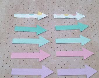 Set of 10 pastel arrow die cuts