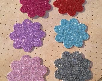 6 Glitter flower die cuts