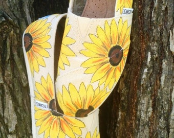 Natural Sunflower Custom/Hand Painted Womens/Girls Spring/Summer/Fall/Wedding TOMS Shoes