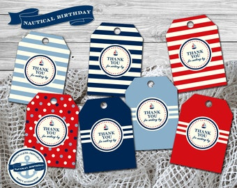 Nautical Birthday Party Theme - Personalized Favor Tags/Cupcake Toppers Printable/DIY Printable