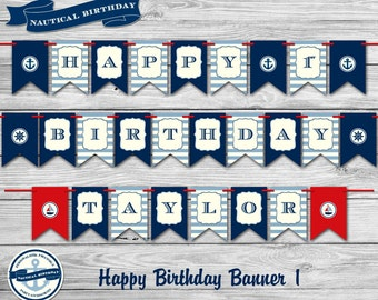 Nautical Birthday Party Theme - Personalized 1st  Birthday Party Package/DIY Printables