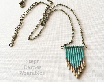 Fringe Necklace in Teal, Cream and Stone