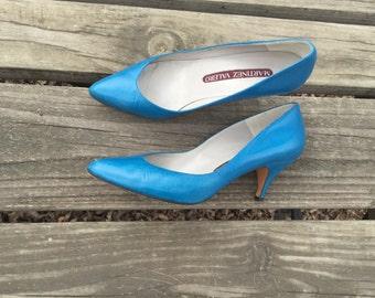 Shoes - Size 5 Heels Leather Azure Blue Pumps Martinez Valero Womens