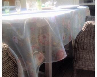 Romantic rose print organza tablecloth.
