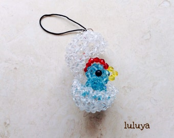 Blue Chick inside an Egg Crystal Beaded Cellphone Cell Phone Charm Zipper Pull Keychain Gift
