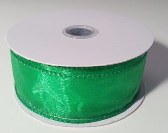 Wired Edge Organza Ribbon - Emerald Green - 10 Yards