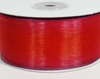 "1 1/2"" Two Toned Sheer Ribbon - Red - 25 Yards"