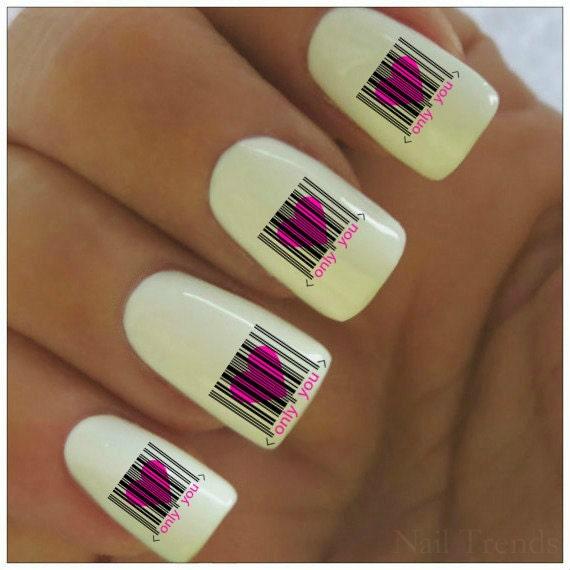 San Valentín uñas etiqueta 20 vinilo calcomanías tatuajes uñas