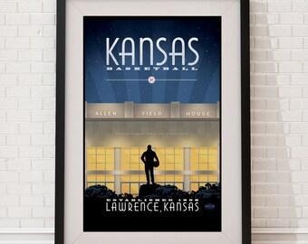 Kansas Basketball Matte Litho or Canvas