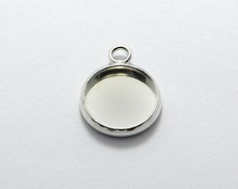 10pcs Round Cabochon Settings in Bright Silver, Pendant Trays, Bezel Blanks, Pendant Settings for 12mm Round Cabochons #SD-S6809