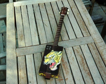 Electric Cigar Box Guitar with hand painting design