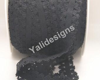 U Pick 1 or 5 or 10 Yards Black 3/4''  Picot Edge Stretch Lace, Frilly edges elastic webbing,Lace for Headbands,Wholesale Headbands YTA35B