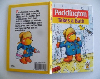 Paddington Takes a Bath, 1988 Carnival Book, Printed and Bound in Great Britain, Vintage Collectible, Fabulous Bear Story with Mrs. Bird