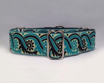 """1.5 inch Martingale Collar, """"Sari"""" Turquoise Black Jacquard Ribbon Martingale Collar, Greyhound Martingale Collar, Dog Martingale Collar"""