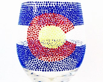 Hand-painted Colorado State Flag Wine Glass (Other States Also Available)