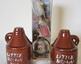 Little Brown Jug Salt & Pepper Set Made in Japan-the crude appearance gives them much charm and character.Great for a country style kitchen.