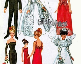 Gown Patterns for Barbie and Other Fashion Dolls & A Tuxedo for Ken-type Boy Dolls