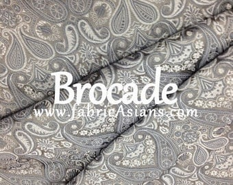 Silver grey brocade. Silver Damask Brocade. Chinese Brocade. Asian Fabric. SBKD100024